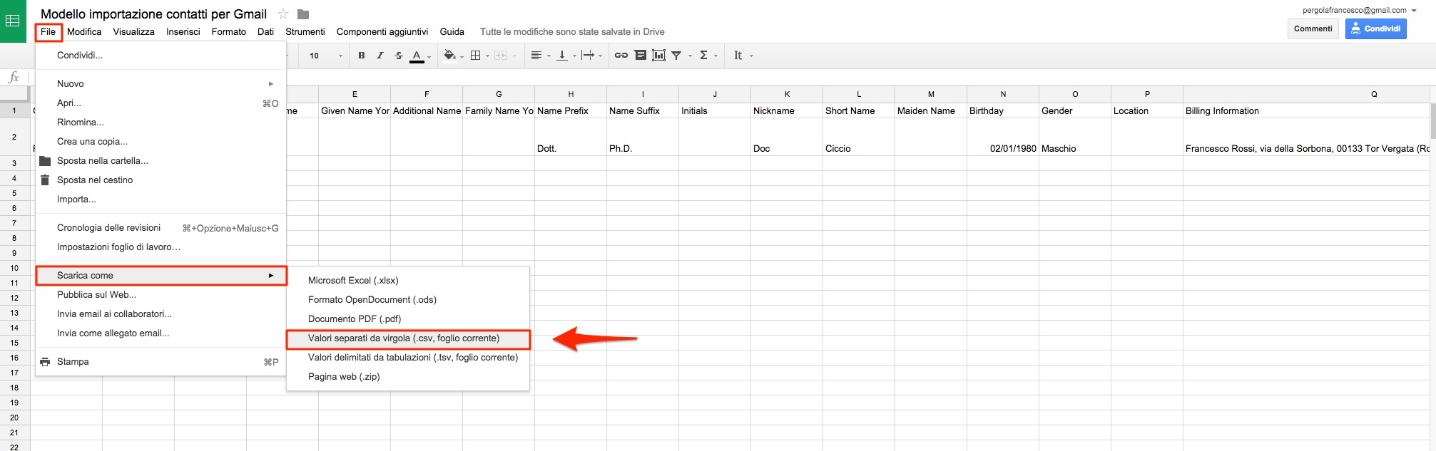 Salva file CSV da Fogli Google