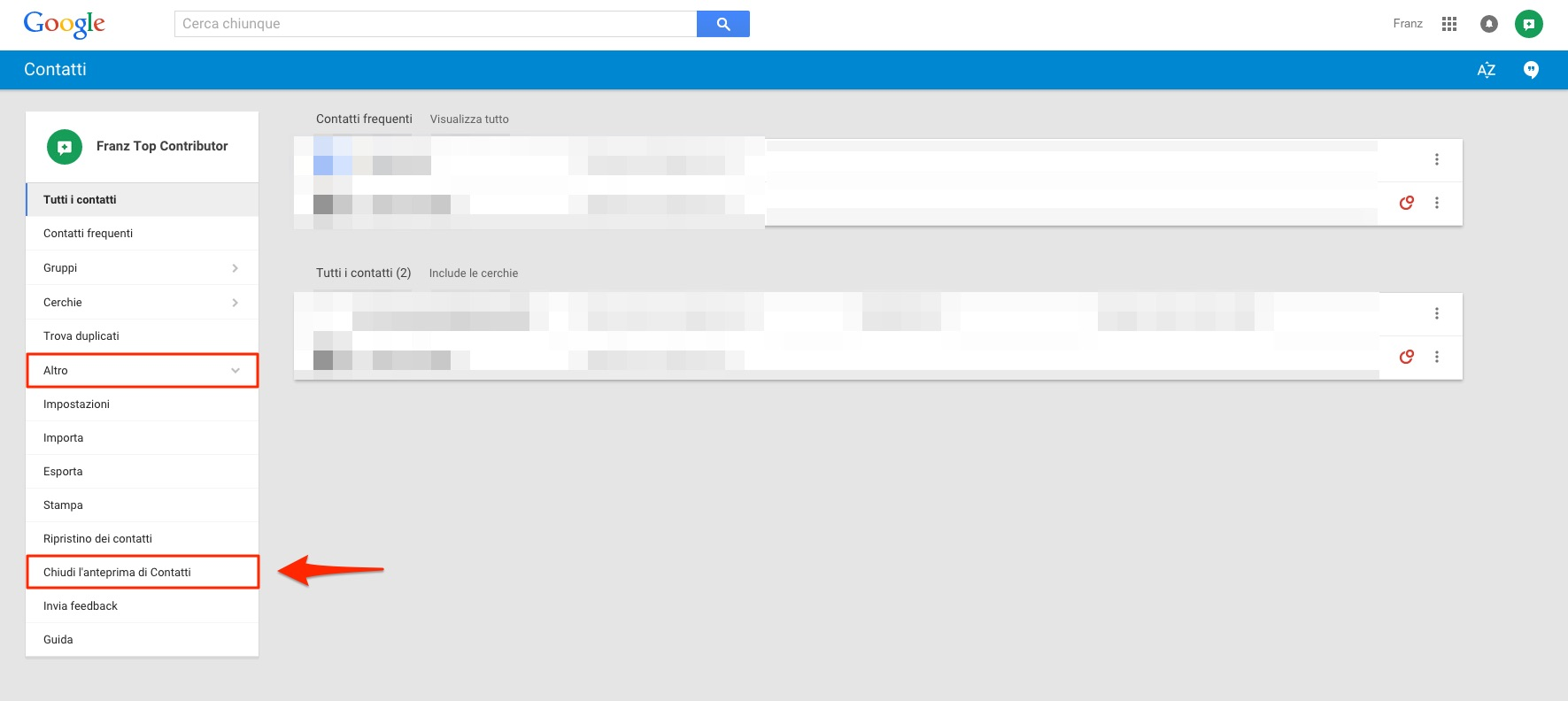 Gmail chiudi anteprima Contatti
