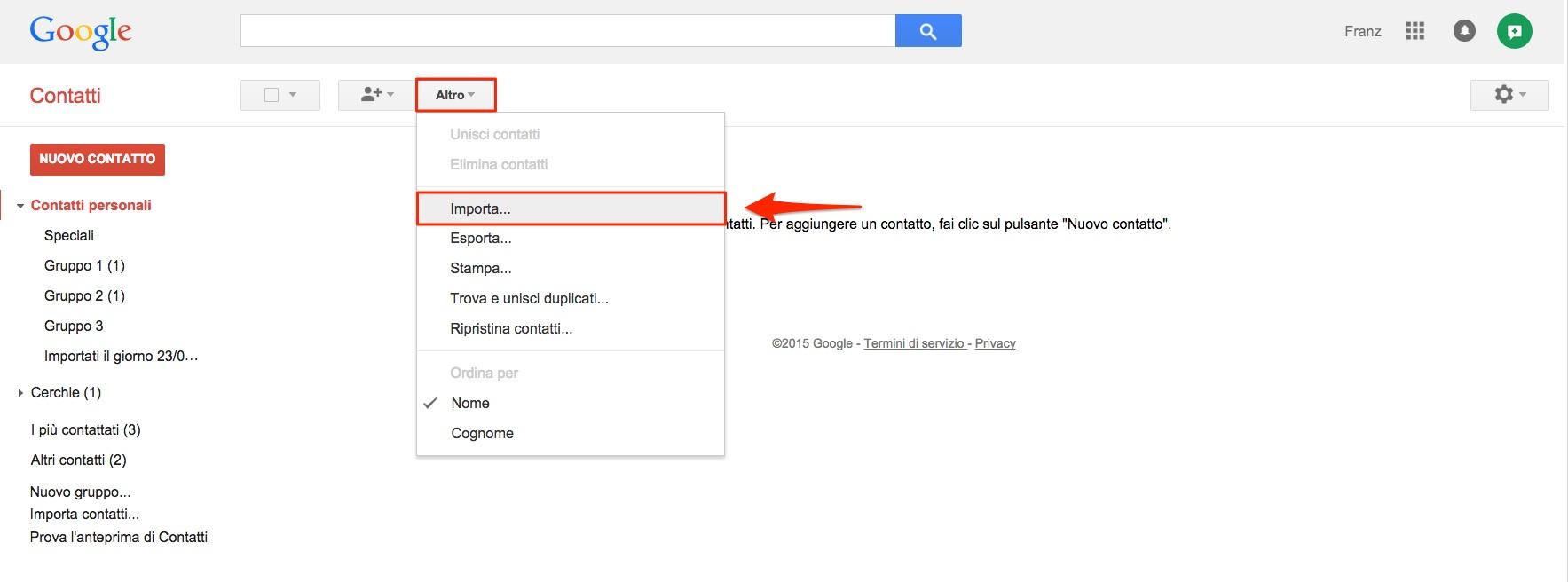 Importa contatti in Gmail