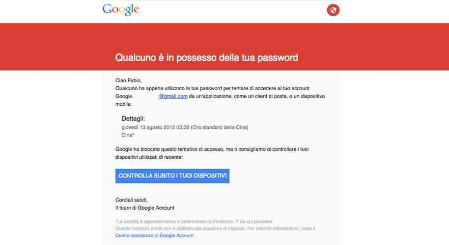 Google warning emails