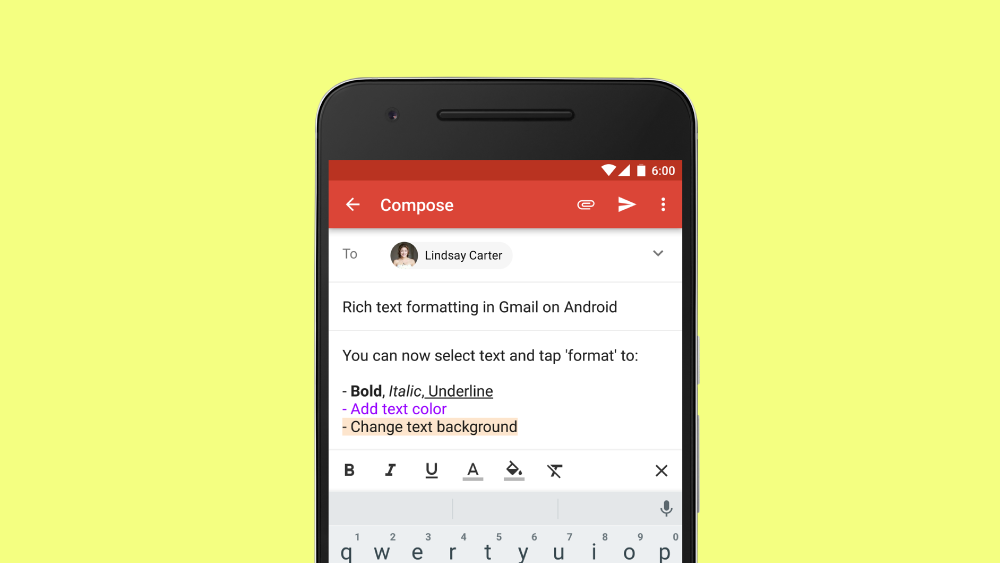 Gmail formattazione avanzata