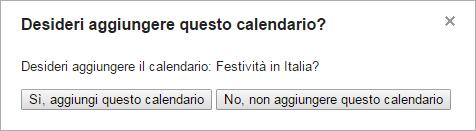 Desideri aggiungere questo calendario