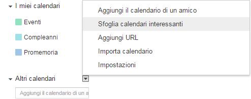 Sfoglia calendari interessanti in Google Calendar