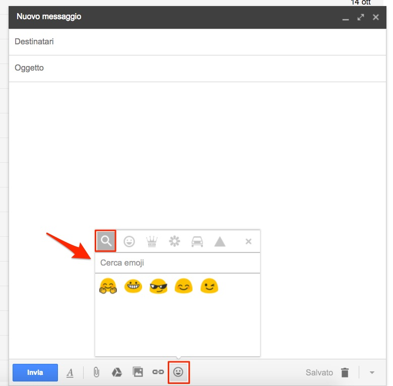 Rcerca emoji in Gmail