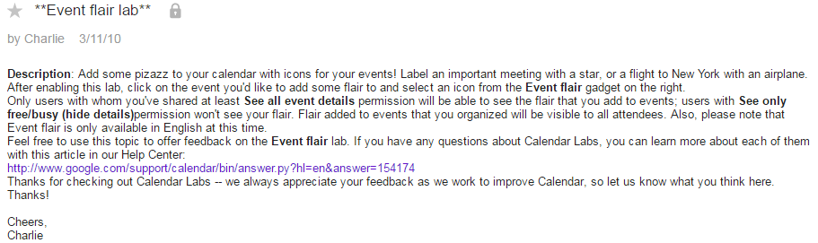 Annuncio Event flair lab sul Google Calenda Help Forum