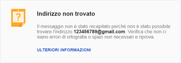 Mail Delivery Subsystem (Indirizzo non trovato)
