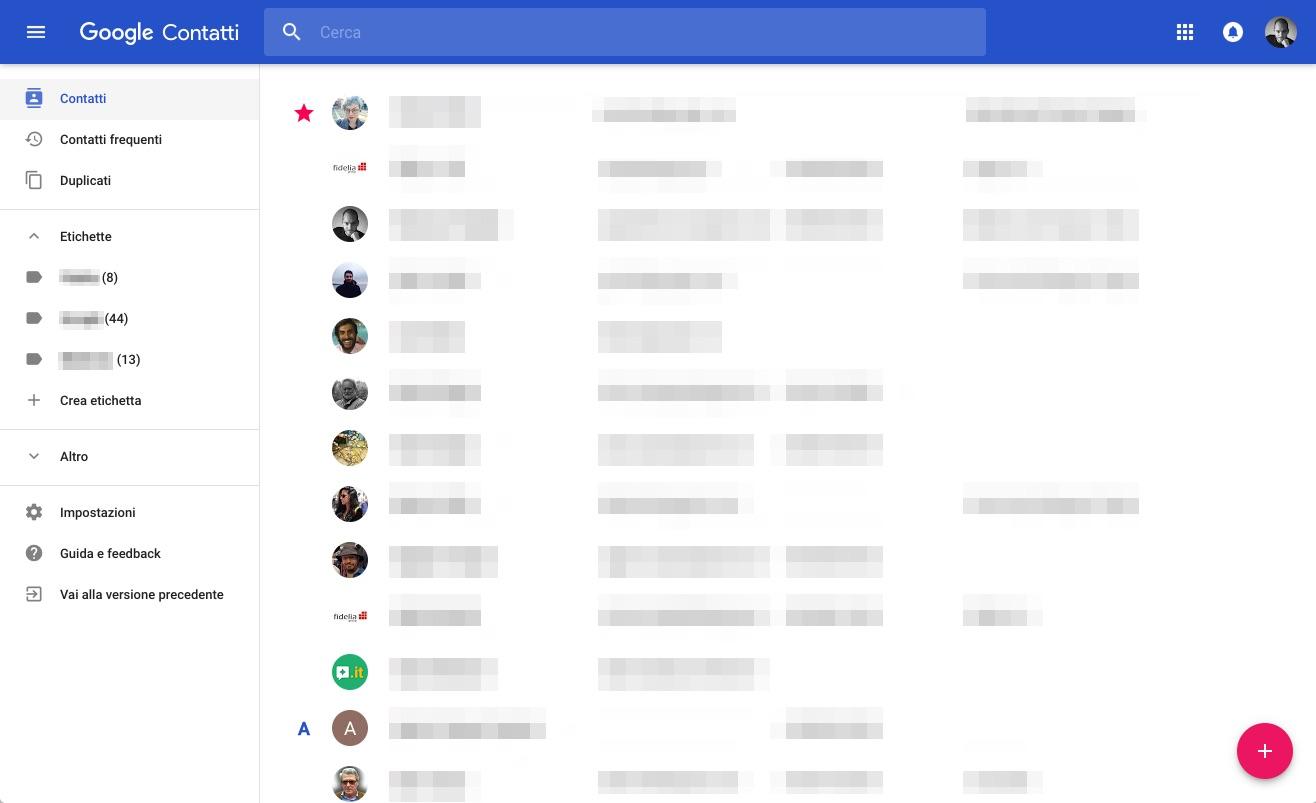 Contatti Google nuova interfaccia
