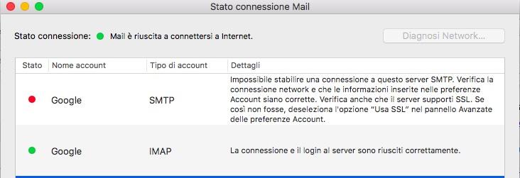 Apple Mail - Server SMTP Gmail offline