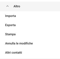 Menù Altro in Contatti Google