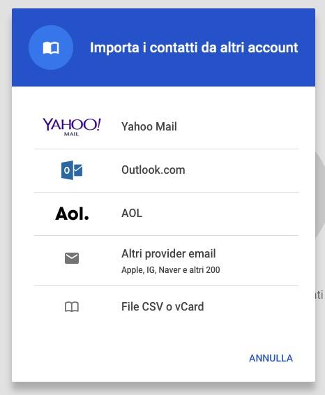 Importazione Contatti Google