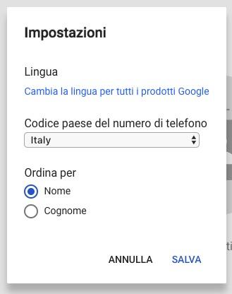 Impostazioni Contatti Google