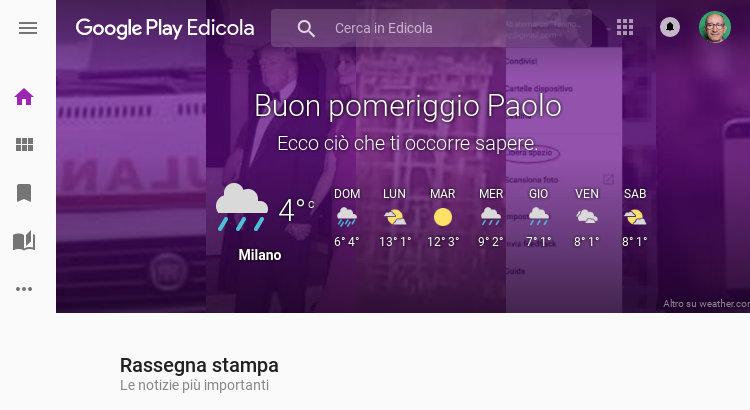Home page di Google Play Edicola
