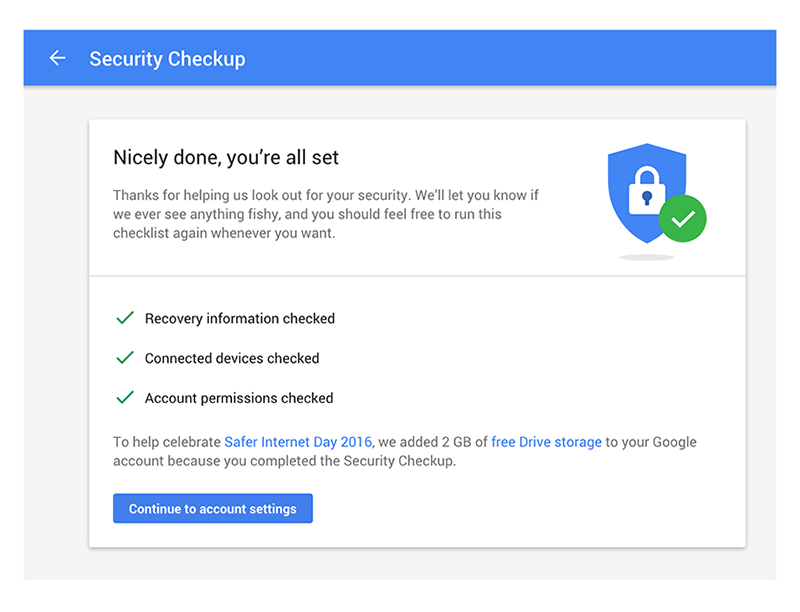 Google Security Checkup 2016