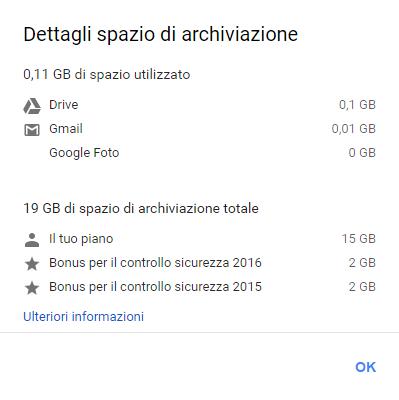 Spazio di archiviazione Google Drive