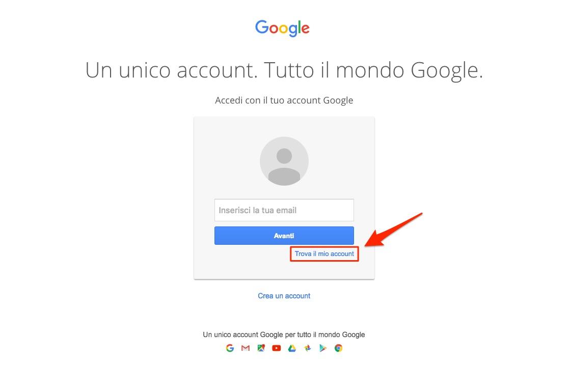 Recuperare account Google - Nome utente