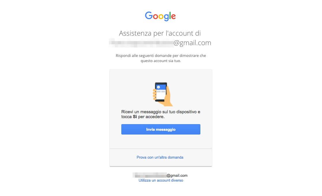 Recupero password Account Google - Prompt Android