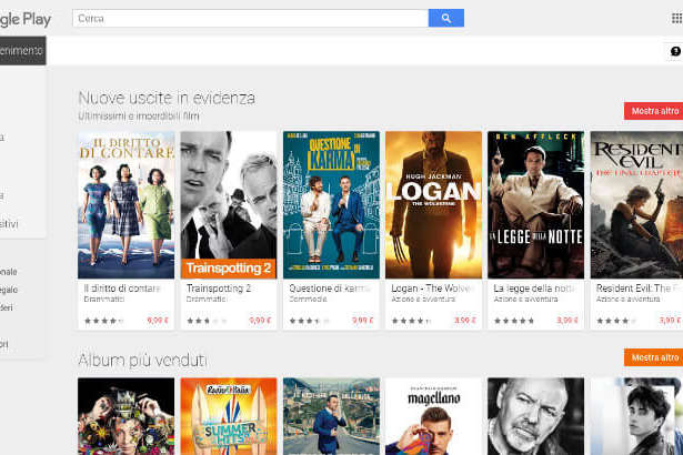 Home page di Google Play
