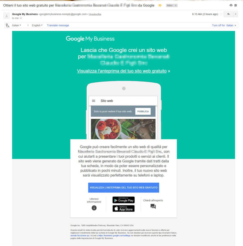sito my mybusiness 1 email sito web gratuito da google my business