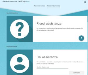 Interfaccia web assistenza remota