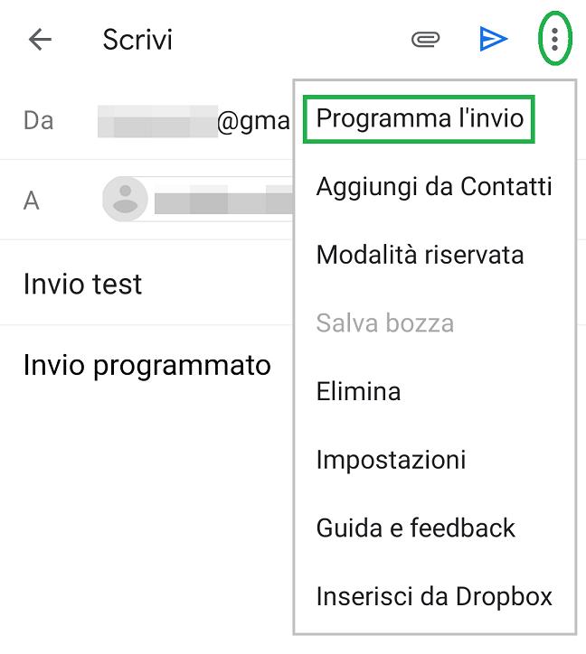 opzione programma l'invio app