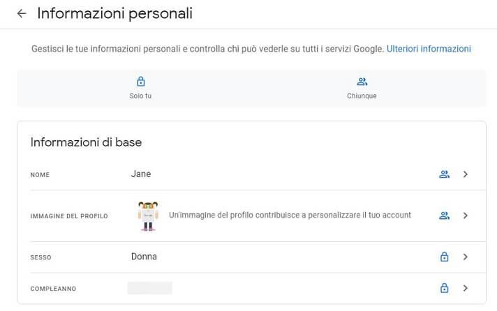 Profilo Google cambia look
