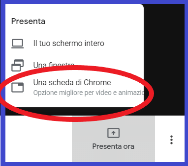 Condividi in Google Meet il contenuto e l'audio di una delle schede di Chrome.