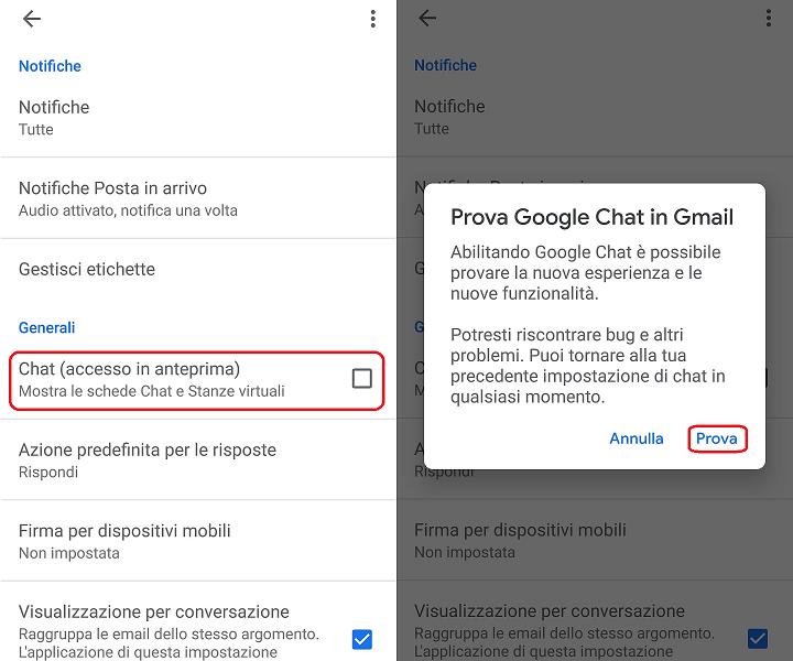 Google Chat e Room attivazione da app Gmail